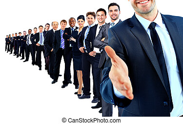 Business group in a row leader with open hand and ready to...