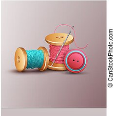 vector background with sewing accessories thread, spools,...