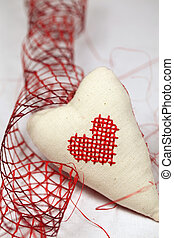 Embroidered heart and ribbon - Fabric heart with embroidered...