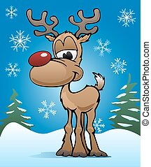 Christmas Holiday Red Nose Reindeer - Cute colorful red nose...