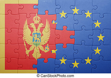 puzzle with the national flag of montenegro and european union
