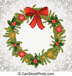 Christmas background with wreath - Scalable vectorial image...