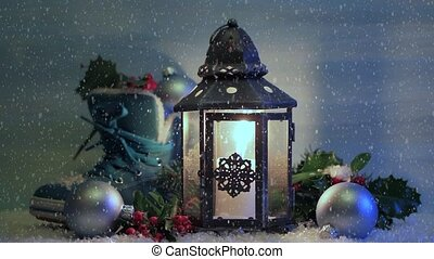 Christmas lantern with a shoe and Christmas decorations in...