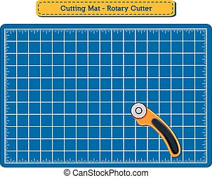 Cutting Mat and Rotary Cutter, blue