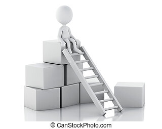 3d White people climbing ladders to get to the top. - 3d...