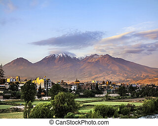 city of Arequipa, Peru with its iconic volcano Chachani in...