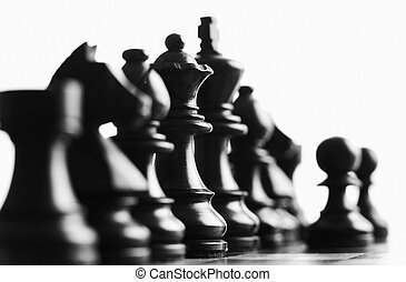 Chess focus on the back queen