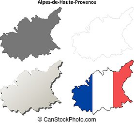 Alpes-de-Haute-Provence, Provence outline map set -...