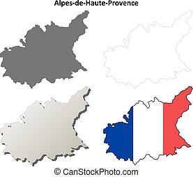 Alpes-de-Haute-Provence, Provence outline map set -...