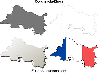 Bouches-du-Rhone, Provence outline map set -...