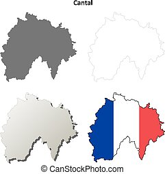 Cantal, Auvergne outline map set - Cantal, Auvergne blank...