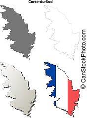 Corse-du-Sud, Corsica outline map set - Corse-du-Sud,...