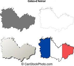 Cotes-d'Armor, Brittany outline map set - Cotes-d'Armor,...
