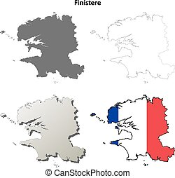Finistere, Brittany outline map set - Finistere, Brittany...