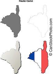Haute-Corse, Corsica outline map set - Haute-Corse, Corsica...