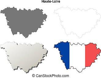 Haute-Loire, Auvergne outline map set - Haute-Loire,...