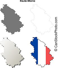Haute-Marne, Champagne-Ardenne outline map set -...