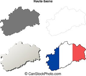 Haute-Saone, Franche-Comte outline map set - Haute-Saone,...