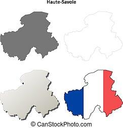 Haute-Savoie, Rhone-Alpes outline map set - Haute-Savoie,...
