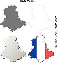Haute-Vienne, Limousin outline map set - Haute-Vienne,...