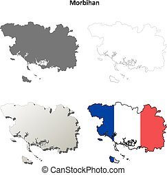 Morbihan, Brittany outline map set - Morbihan, Brittany...