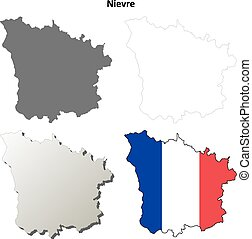 Nievre, Burgundy outline map set - Nievre, Burgundy blank...
