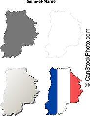 Seine-et-Marne, Ile-de-France outline map set -...