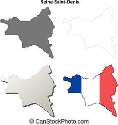 Seine-Saint-Denis, Ile-de-France outline map set -...