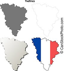 Yvelines, Ile-de-France outline map set - Yvelines,...