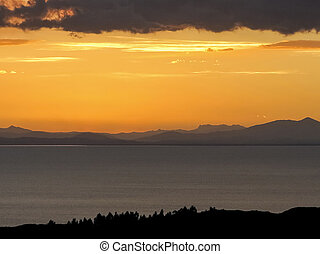 view over lake Titicaca from islas del sol - panoramic view...
