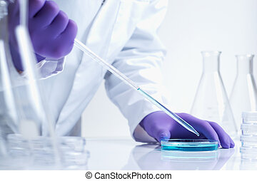 Biotechnology research in laboratory - close up of...