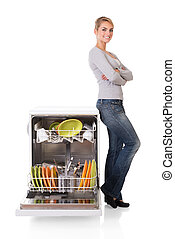 Confident Woman With Dishwasher - Portrait of confident...