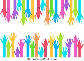 Vector modern colorful hands background. Creative template