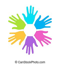 Vector modern colorful hands background.