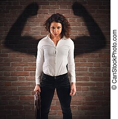 Angry and confident businesswoman - Businesswoman with angry...