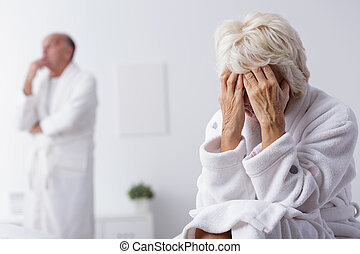 Elderly marriage thinking about divorce - Image of unhappy...