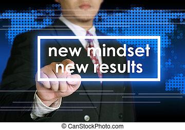 Self Development Concept - Businessman clicking New Mindset...