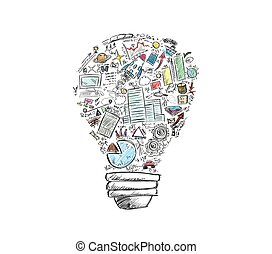 Business idea - Drawn light bulb with many business symbols
