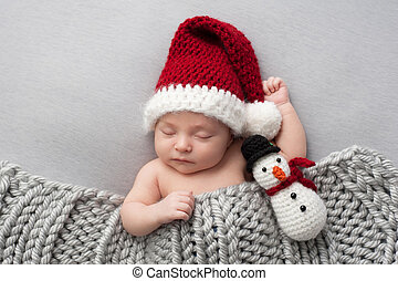 Newborn Baby Boy with Santa Hat and Snowman Plush Toy -...