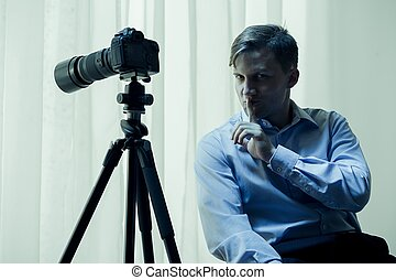 Voyeur with camera - Image of dangerous psycho voyeur with...