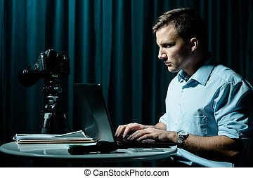 Cyber stalker persecuting his victim - Image of cyber...