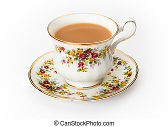 English tea in a bone china cup - Tea served in a...