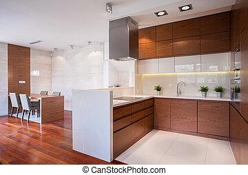 Modern kitchen in wood