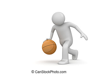 Basterball player - 3d isolated characters on white...
