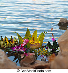 Loy Kratong Festival - Fancy Krathong on the river after the...