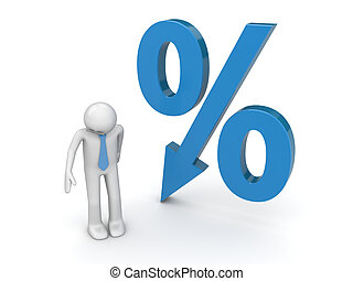 Businessman and percent sign with falling arrow - 3d...