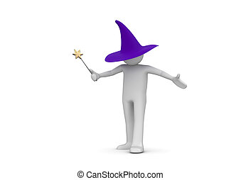 Wizard isolated on white background - 3d isolated characters...