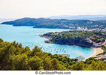 Costa Brava Calella aerial view girona Catalonia - Costa...