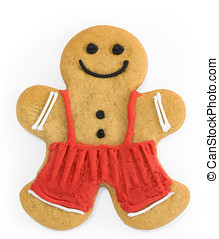 Gingerbread man - Smiling gingerbread man with dungarees and...