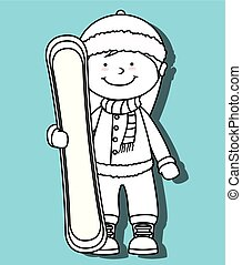 Winter sport and wear accesories design theme, vector...
